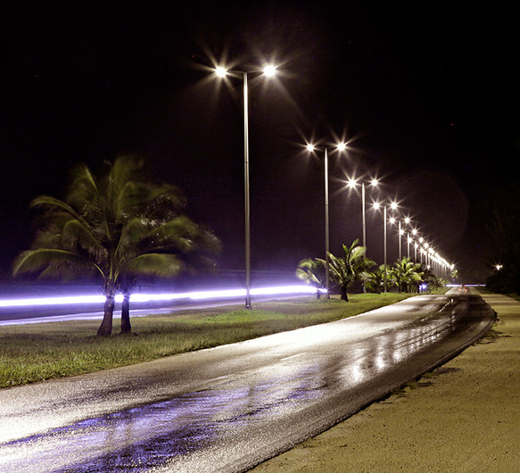 Photo of a nighttime street scene in Cuba